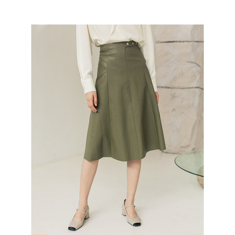 INMAN 2020 Spring Office Retro Style New Arrival Solid Color PU Leather A Line Knee Length Skirt