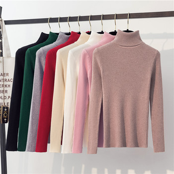 Autumn Winter  Sweater Women Knitted Ribbed Pullover Sweater Long Sleeve Turtleneck Slim Jumper Soft Pull Femme