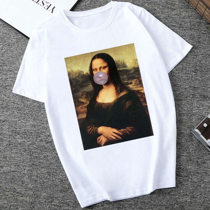 2019 Mona Lisa Spoof Personality Tees Women Fashion Tshirt Harajuku Summer Short Sleeve O-neck White Tops Shirt Camiseta Femina