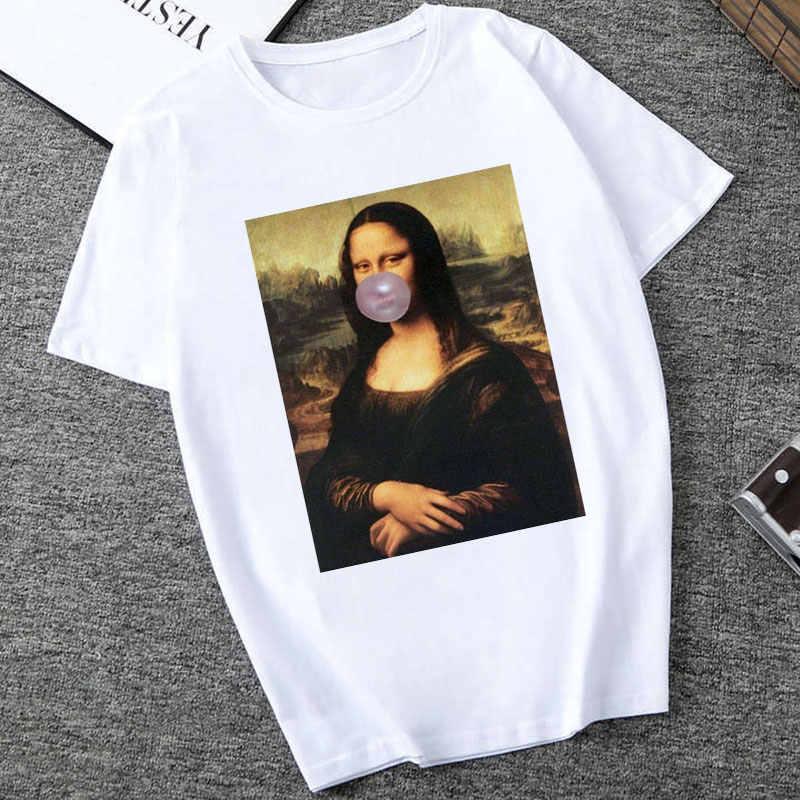 2019 Mona Lisa Spoof บุคลิกภาพ Tees ผู้หญิงแฟชั่น Tshirt Harajuku ฤดูร้อนแขนสั้น O-Neck เสื้อ Camiseta Femina