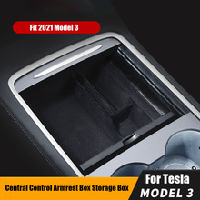 New For Tesla Model 3 Y 2021 Car Armrest Box Storage Organizer Containers Center Console Flocking Storage Box Console Holder