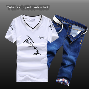 цена на Summer Men's Short Sleeve V-neck T-shirt Calf-length Pants Cropped Pants With One Belt Two Pieces Set Casual B12