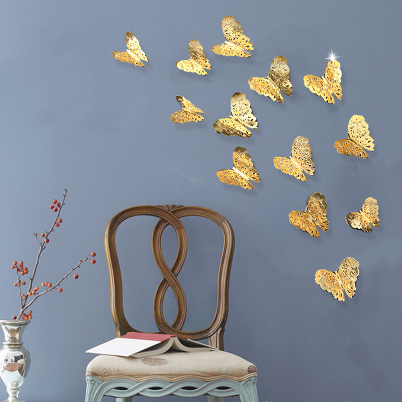 12pcs 3d Butterfly Wall Decor Cute Butterflies Wall Stickers Art Decals Home TV Background Wall Decoration Stickers