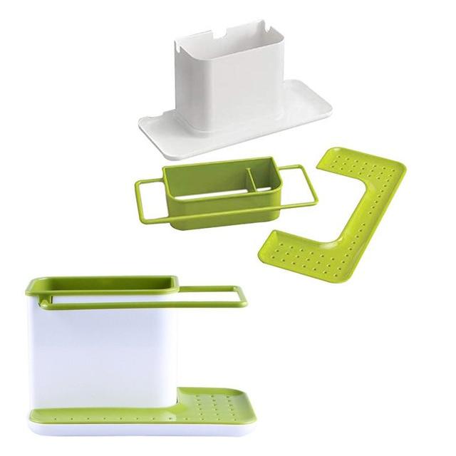 Storage Shelf Sponge Holder Draining Sink Box Kitchen Organizer Draining Rack Dish Storage Rack Stands Tidy Utensils Towel Rack 2