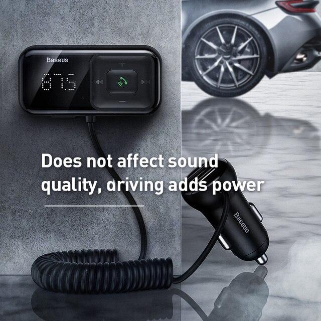 Baseus FM модулятор передатчик Bluetooth 5,0 FM радио 3.1A USB Автомобильное зарядное устройство Handsfree автомобильный комплект беспроводной Aux аудио fm-передатчик 2