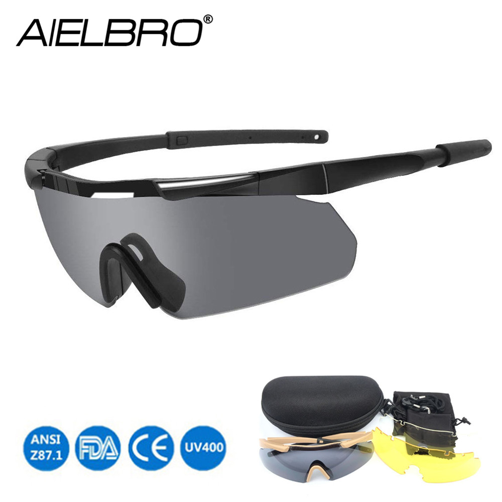 Sunglasses Tactical Glasses 3Lens Outdoor Anti-fog Safety Glasses Mens Polarized Shooting Glasses Cycling Hiking Fishing Hunting