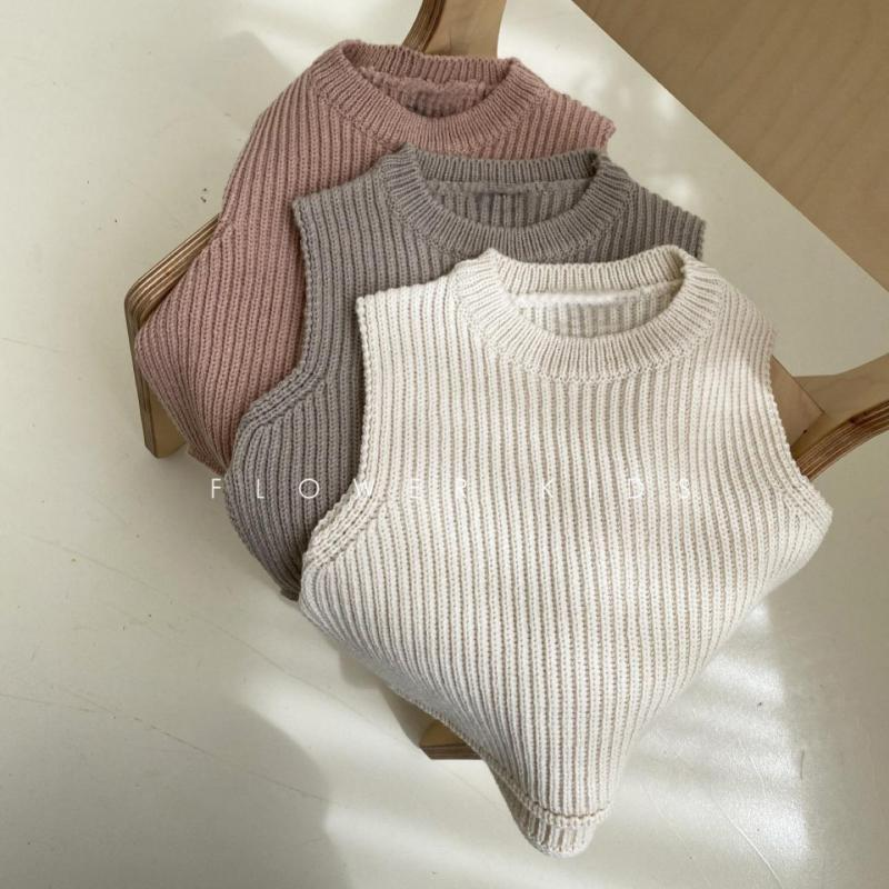 Children's Vest Sweater Warm Soft 2021 Spring New Kid Tops Knitted Solid Outfits Boys Girls Outwears Sleeveless O-neck Pullover 1