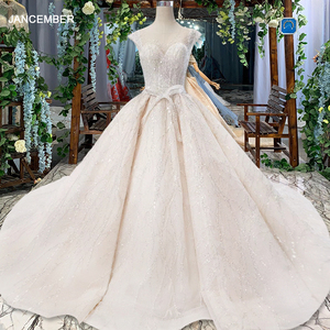 Image 1 - HTL820 wedding dresses turkey o neck cap sleeve beads bridal dresses gown with belt lace up back robe de mariee 11.11 promotion