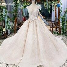 Suknie ślubne HTL820 turcja o neck krótki kimonowy rękaw koraliki suknie ślubne suknia z paskiem lace up powrót robe de mariee 11.11 promocja