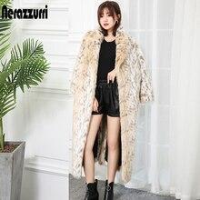 Nerazzurri Winter Fluffy Leopard Faux Fur Coat Label Luxury Long Women European Fashion Warm Oversized Leopard Print Streetwear