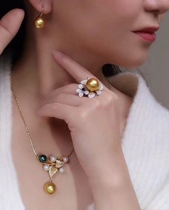 Image 5 - D304 Pearl Sets 925 Sterling Silver 9 12mm Natural Fresh Water Golden Pearls Females Jewelry Sets for Women FIne Jewelry Sets