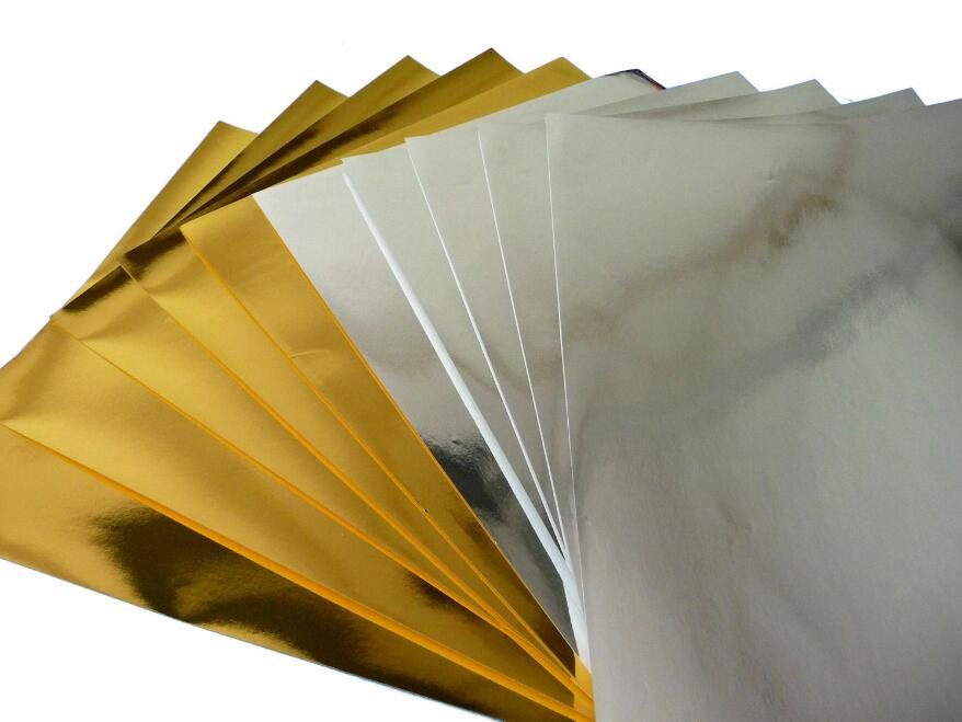20 Sheets Size A5 Single Side Gold/Silver Shiny Glossy Metallic Cardstock Paper Art Card