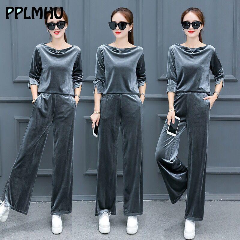 Fashion Loose Tracksuit Velvet Women Plus Size Two Piece Set Ensemble Femme Spring Basic O-neck Shirt And Wide Leg Pants Black