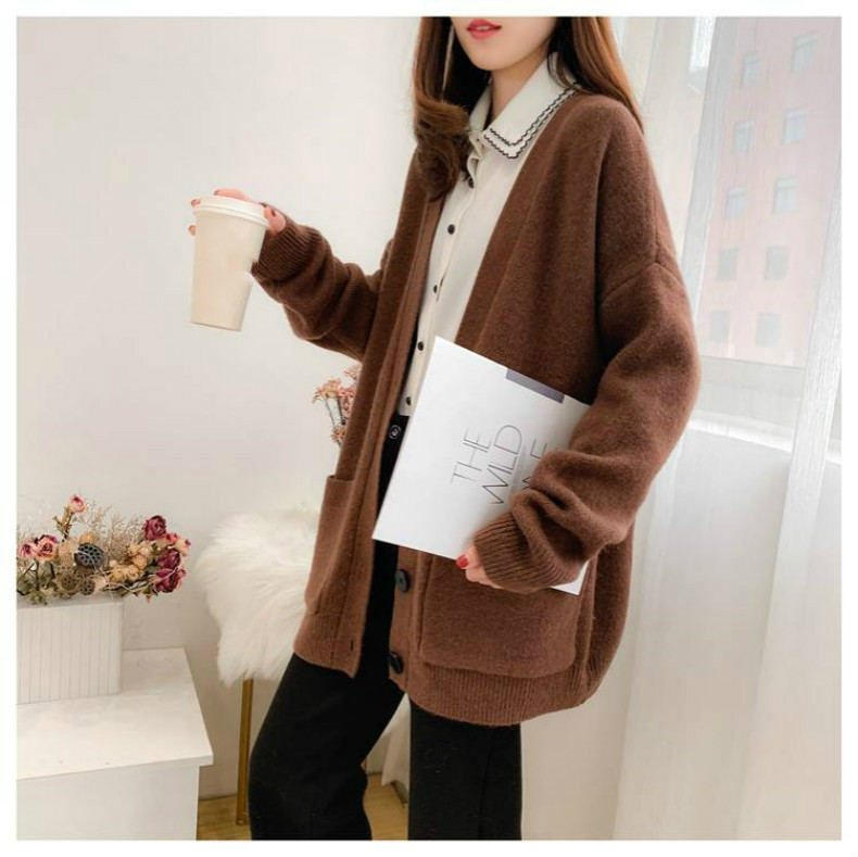 Woherb Black Knitted Sweater Women V Neck Long Sleeve Solid Color Cardigan Vintage Harajuku Casual Loose Tops Fashion New 90728 17