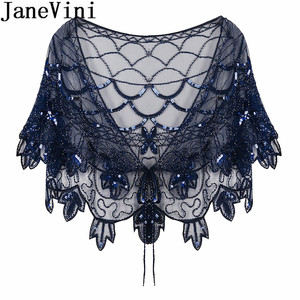 Image 2 - JaneVini Elegant แชมเปญทอง Bolero เลื่อมยักไหล่เสื้อสเวตเตอร์ถักผู้หญิงงานแต่งงานเสื้อ Cape Beaded Bridal Wrap Etole Femme Mariage
