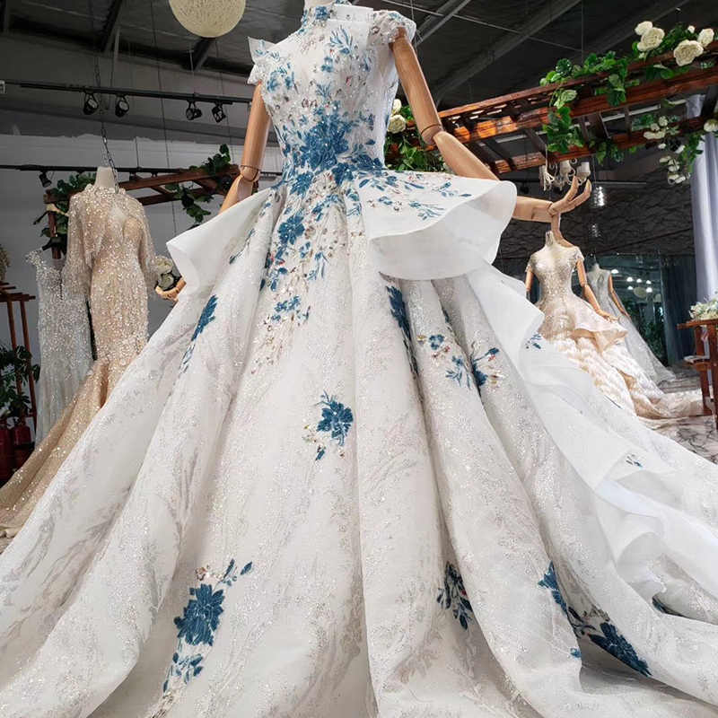HTL792 חתונת שמלות עם כחול פרחי כדור שמלת חצאית דפוס גבוה צוואר שמלות כלה לכלה будуарное платье кружевное