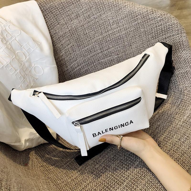 Simple Pure Color Double Zipper Waist Packs Women Messenger Bag PU Leather Girls Casual Shoulder Bags Female Small Waist Bag
