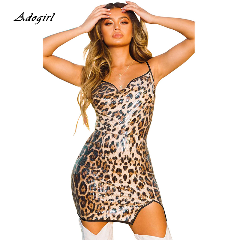 <font><b>Women</b></font> Summer Leopard Sequine <font><b>Dress</b></font> <font><b>Sexy</b></font> Spaghetti Strap Backless <font><b>Bodycon</b></font> Mini <font><b>Women</b></font> <font><b>Dress</b></font> Strapless Slit Ladies Party <font><b>Dress</b></font> image