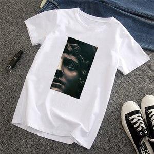 Давид Микеланджело летняя забавная уличная одежда с коротким рукавом с забавным принтом Harajuku женская футболка-40