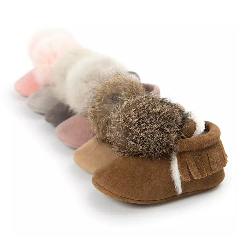 2019 Toddler Baby Boy Girl Winter Tassel Warm Crib Shoes Fur Suede Anti-slip Soft Moccasin Boots 0-18M