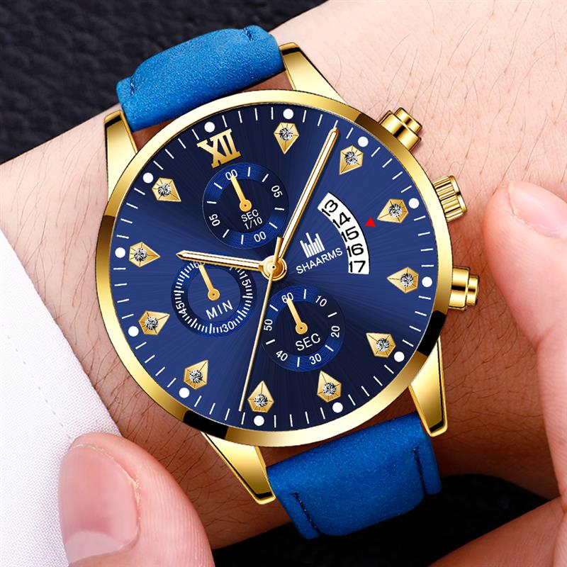 Men Watch Fashion Diamond Calendar Watch Mens Watches Luxury Leather Analog Quartz Sport Clock Relojes Masculino Drop Shipping