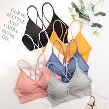 Underwear Seamless Lingerie Bralette Sexy Sports Bra Cross Back Beauty Back Stretch Bra Anti-light Wire Free Fitness Bra cross back contrast piping sports bra
