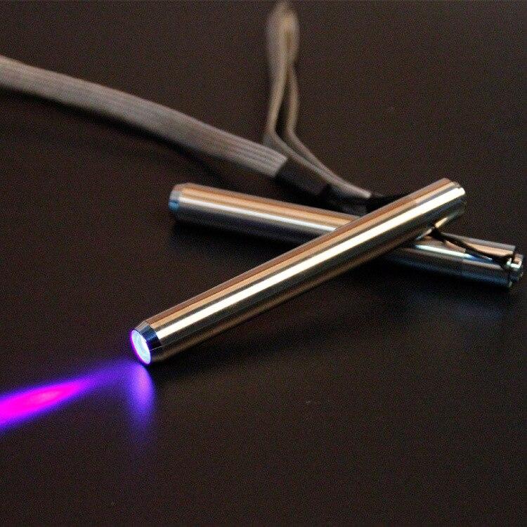 Led UV Flashlight Torch Ultra Violet Light Stainless Steel Mini Pocket Flashlight Lamp AA Battery for Marker Checker Detection