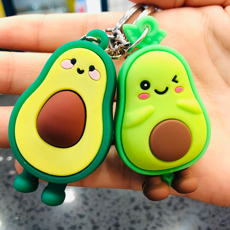 New Fashion Simulation Fruit Avocado Smile-shaped Keychain 3D Soft Resin Avocado Key Chains Jewelry Fashion Wedding Party Gift