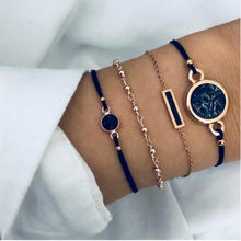 Boho Bracelets porte-bonheur & Bracelets ensemble pour femmes Vintage perlé corde Bracelet Femme mode multicouche Bijoux accessoires Bijoux