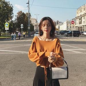 Image 3 - 2019 MISHOW sonbahar vintage örme kazak kadın moda rahat kare yaka fener kollu kısa üstleri MX18C5196