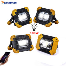 100w portátil spotlight usb led trabalho lâmpada worklight lanterna recarregável 18650 bateria de emergência ao ar livre luz reparo do carro