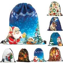 2019 neue Ankunft Mochila Bolsa Feminina Luxus Design Frauen Santa Claus Weihnachten Baum Druck Tasche Tunnelzugverschluss BackpackDropship T822