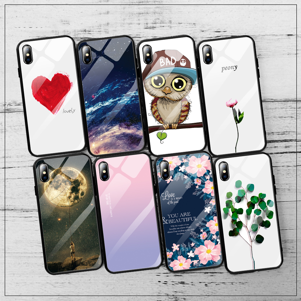 Image 4 - luxury painted tempered glass case for iphone 11 pro max x xr xs 8  7 6 6s universe starry flamingo moon flower pattern soft edgeFitted  Cases
