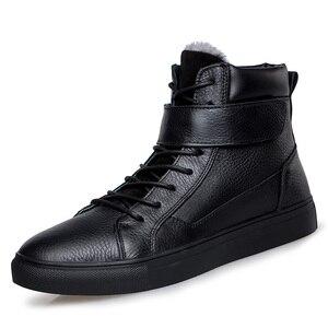 Image 2 - Męska luksusowe moda zima śnieg buty ciepłe futro botki krowa skórzane buty bawełniane mieszkania platformy na świeżym powietrzu botas masculina mans