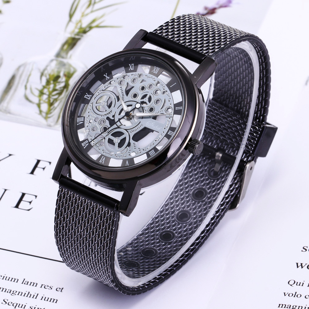 2019 Mens Watches Top Brand Men Luxury Stainless Steel Quartz Military Sport Plastic Band Dial Wrist Watch Relogio Masculino Q