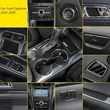 Für Ford Explorer 2013-2019 Zubehör Carbon Fiber Innen Trim Getriebe Panel Navigation Outlet Center Konsole Aufkleber 5D