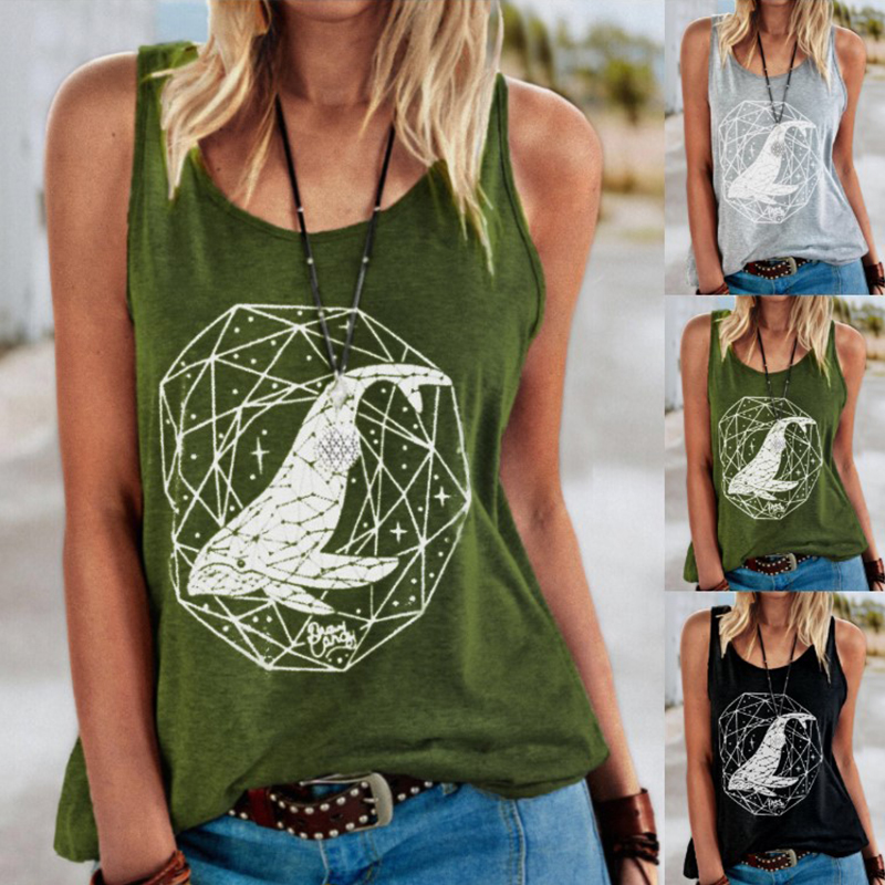 Summer Fashion Sleeveless Top Women Round Neck Print Shirt Tank Off Shoulder Loose Blouse Plus Size Clothing Tshirt