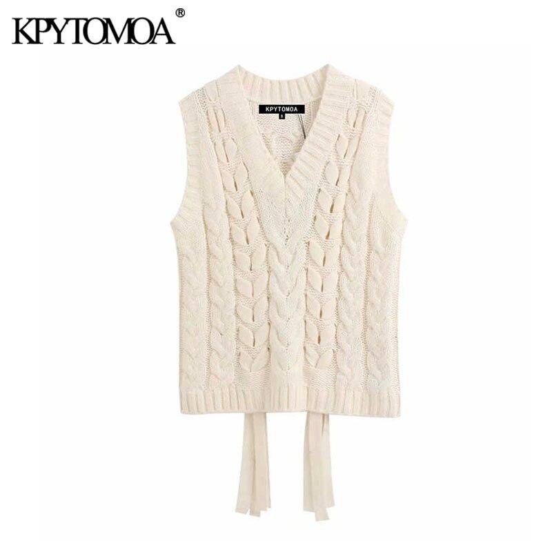 Vintage Elegant Woven Detail Knitted Vest Sweater Women 2020 Fashion V Neck Sleeveless Drawstring Female Outerwear Chic Tops