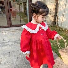 Novedad de primavera, vestido de princesa de algodón de estilo coreano de manga larga con cuello de encaje y manga para niñas lindas y dulces