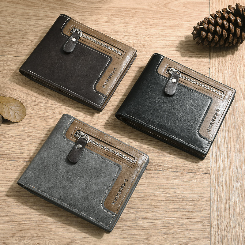 Short Leather Men Wallets Coin Pocket Zipper Wallet ID Card Holder Purse Vintage Business Clutch High Quality Male Purse Cartera