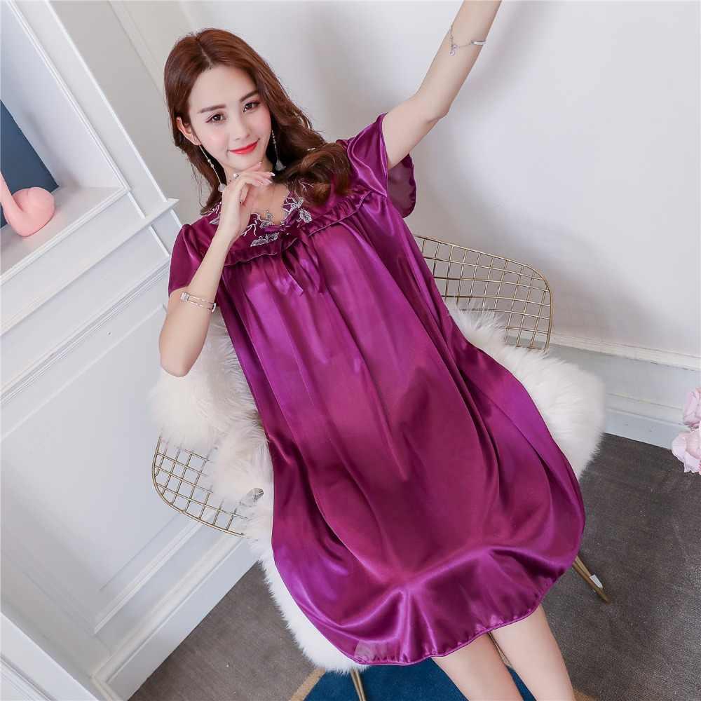 Seksi Yaz Yeni Yağ MM Buz Ipek Gecelik Bayanlar Gecelik Rahat Ev Elbise Hamile kadın Gevşek Pijama Sleepshirt Elbise