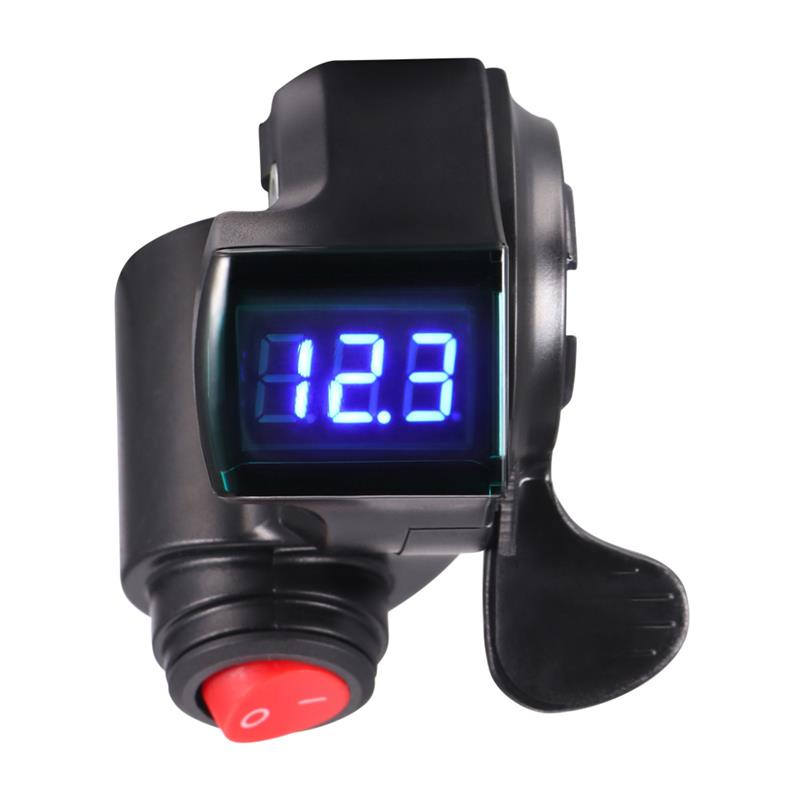 Motorcycle Scooter E-Bike Thumb Accelerator Electric Bike Handle Bar Thumb Throttle Accelerator Voltmeter LCD Display