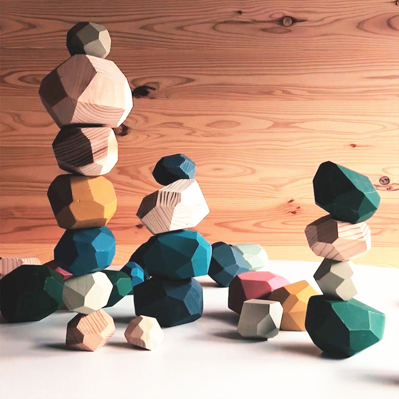 Tumi Ishi Wood Balancing Stacked Stones RAINBOW Set Coloured Gems Wooden Rocks Wooden Stones Baby Building Block Montessori Toys