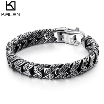 KALEN Punk Link Chain Bracelet Men Stainless Steel Mysterious Symbol Charm Pulseira Masculina Heavy Chunky Armband Jewelry