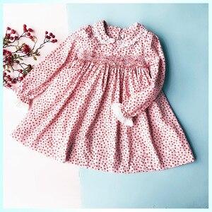 Image 2 - New Spring Autumn Kids Corduroy Printed Peter Pan Collar Handmade Smocking Belt Lace Girls 3 7yrs Full sleeved Cotton Dresses