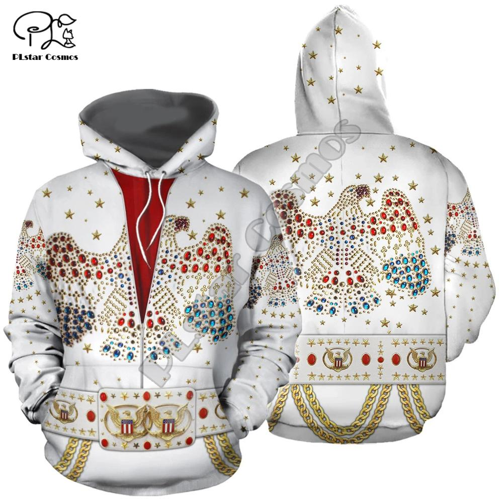 PLstar Cosmos  Super Star Singer ELVIS JUMPSUIT 3D Hoodie  Men Women Fashion Hooded Sweatshirt Long Sleeve Pullover Hip PopStyle