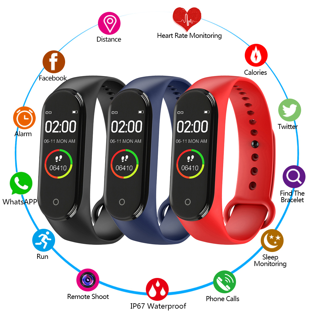Sport Fitness Tracker M4 Smart Heart Rate Monitor Bracelet Calories Waterproof IP67 Smart Band Fashion Watch for IOS image