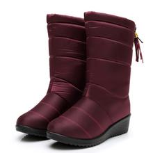 Buty damskie zimowe buty połowy łydki wodoodporne buty śniegowe kliny ciepłe futrzane buty damskie buty kobieta obuwie Chaussures Femme tanie tanio C NEW S Syntetyczny Pasuje prawda na wymiar weź swój normalny rozmiar Okrągły nosek Zima Slip-on Stałe Buty śniegu