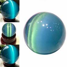 40mm naturalny niebieski kot opalowe oko kamienna kulka kwarcowy kryształowe kulki Ornament pulpit dekoracje do domowego biura rzemiosło piłka kamień prezent