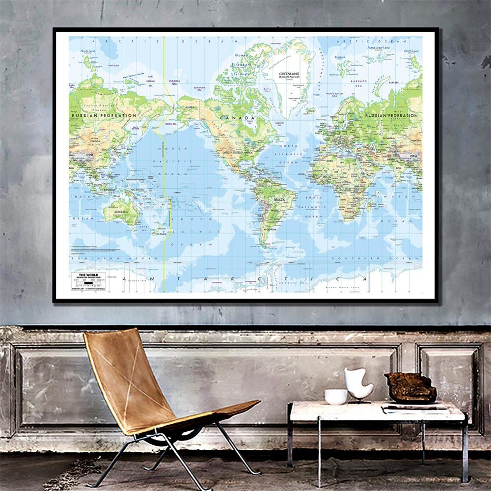 150x100cm The World Map Mercator Projection Vinyl Spray Painting Map Without National Flag
